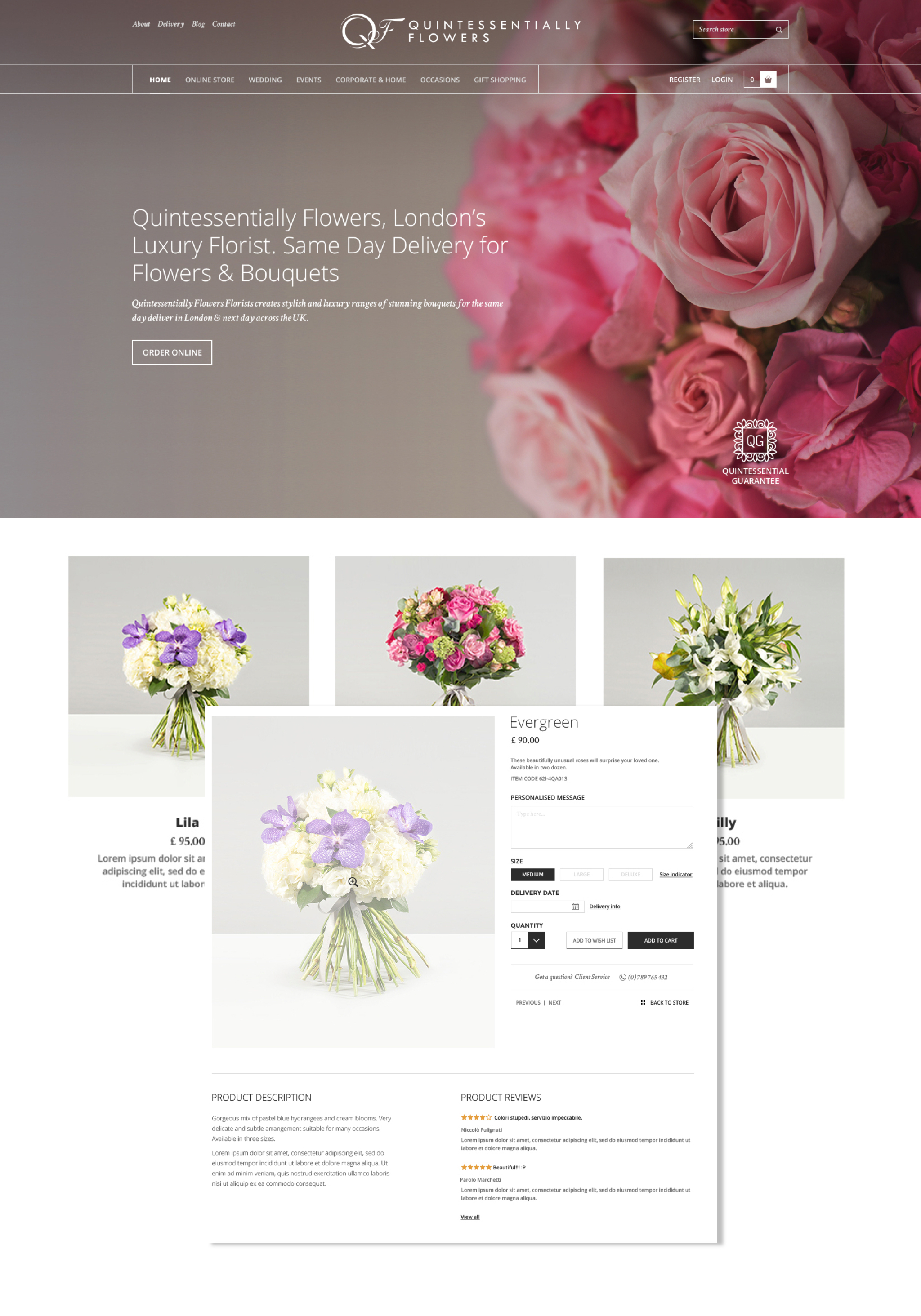 Quintessentially Flowers eCommerce Website
